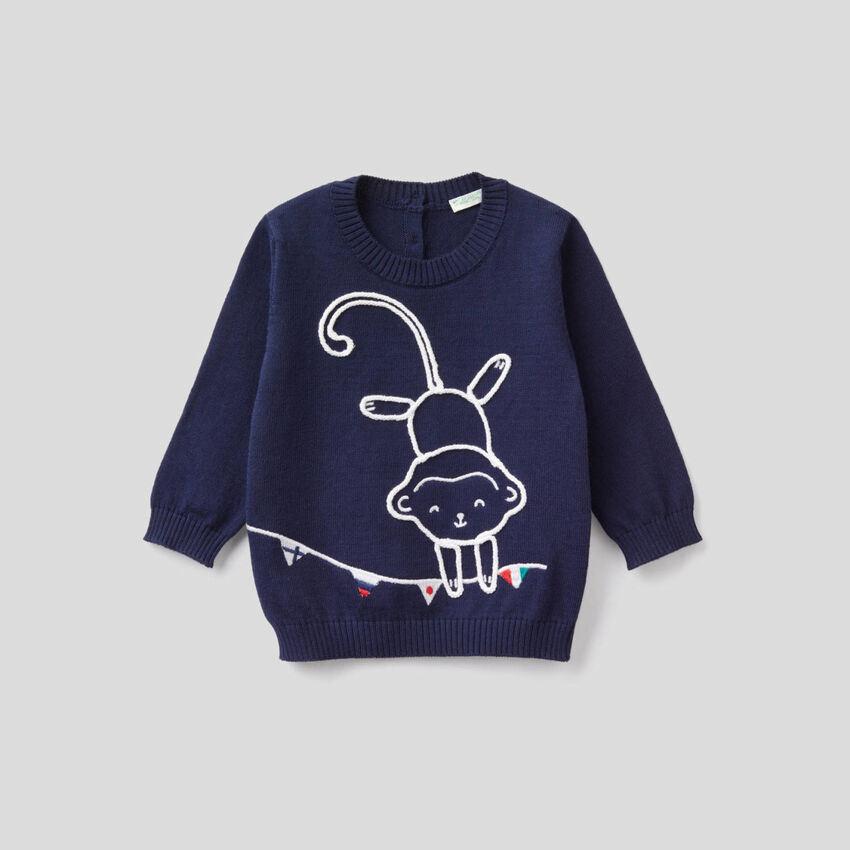 Sweater in 100% cotton with embroidery