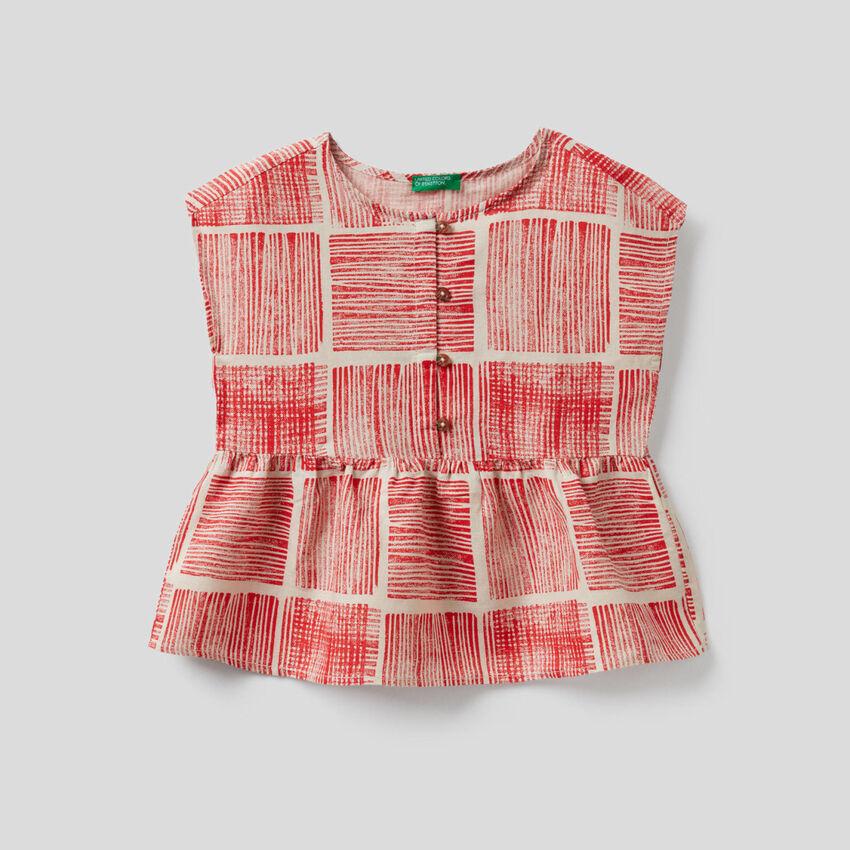 Printed short sleeve blouse