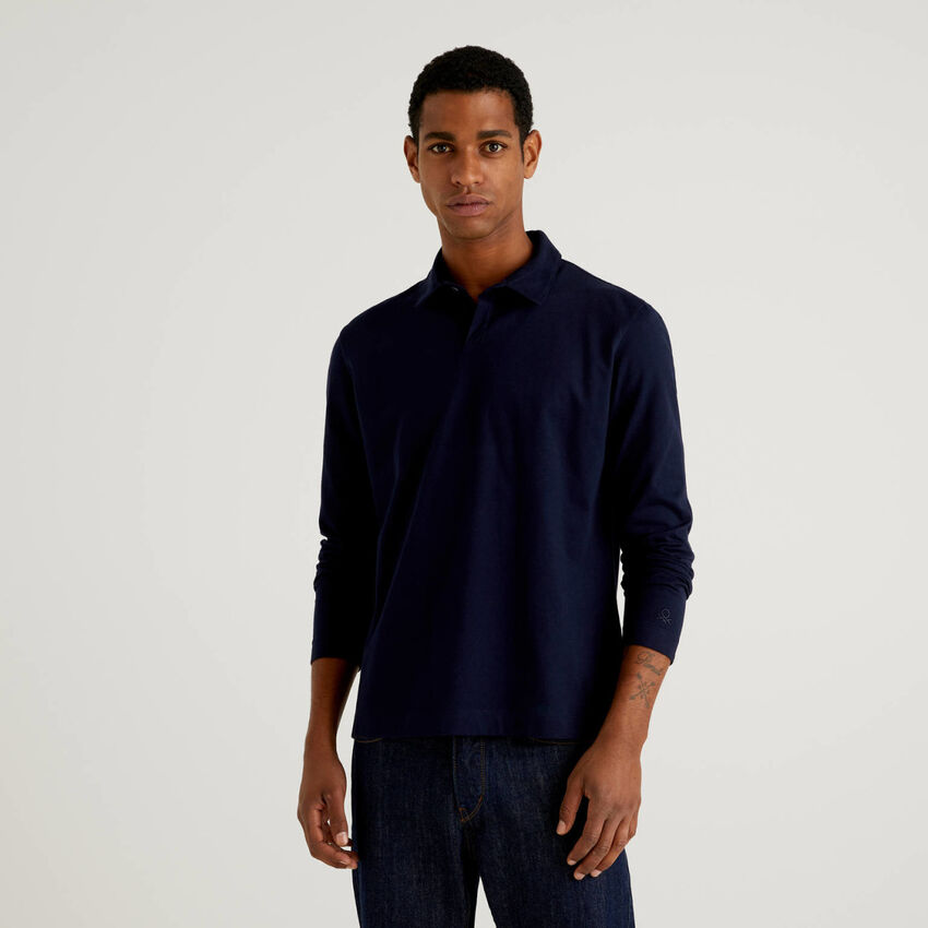 Long sleeve solid colored polo