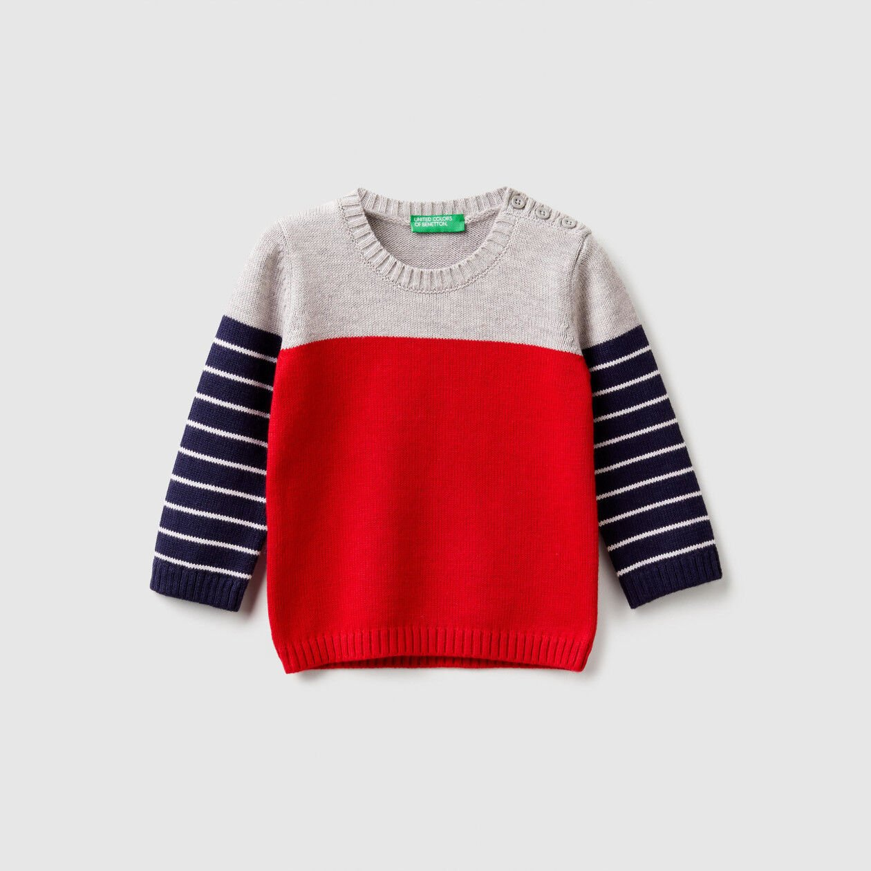 Sweater with multicolor stripes