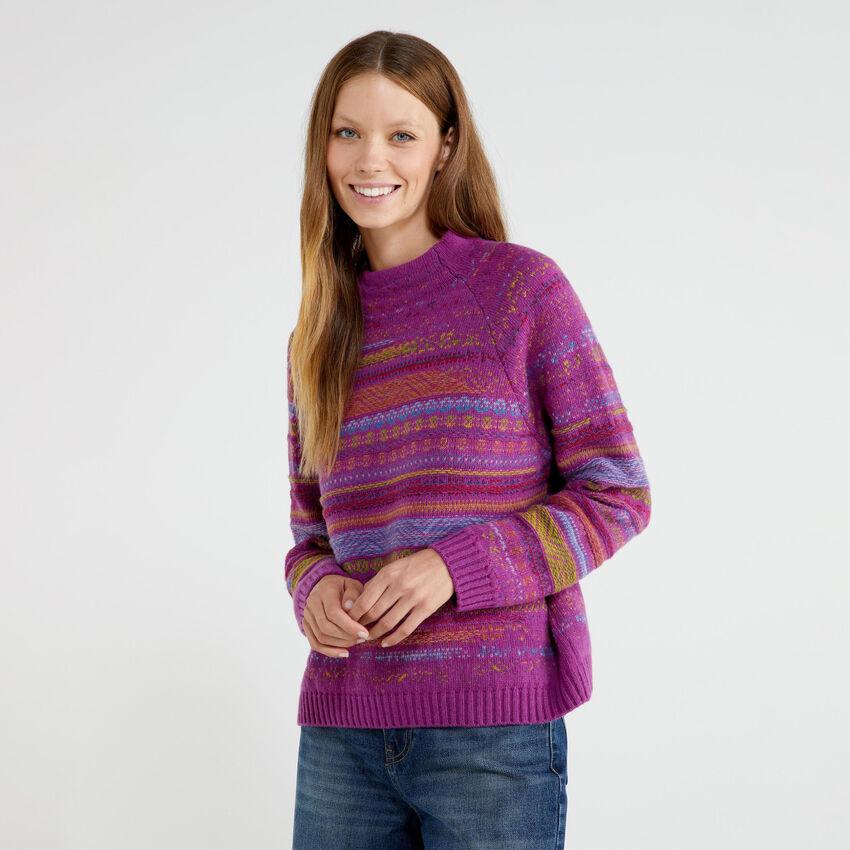 Jacquard turtleneck sweater