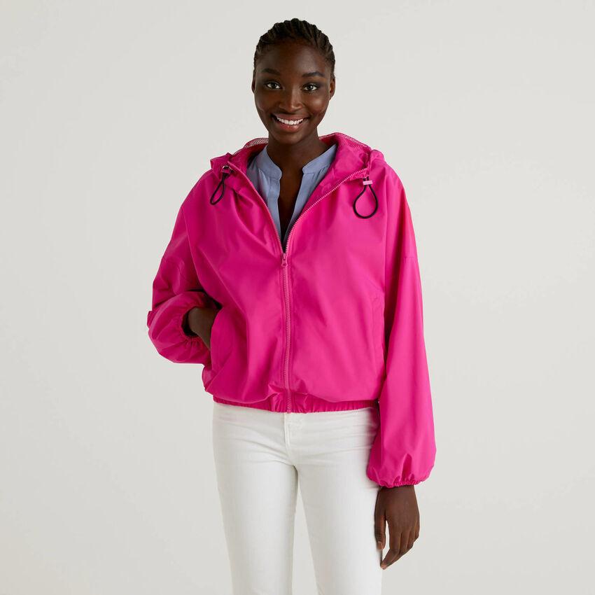 Fuchsia jacket with hood