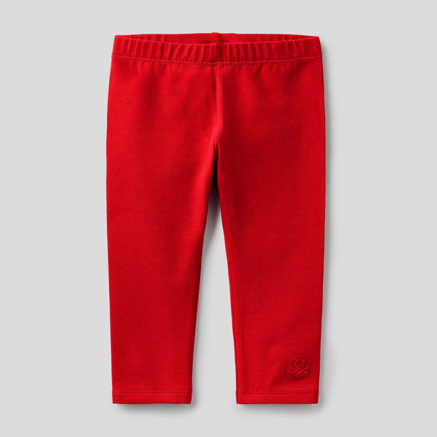 Red leggings in stretch cotton