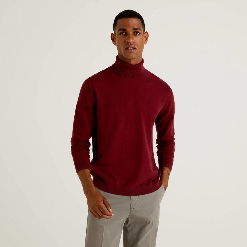 Stretch cotton blend turtleneck sweater