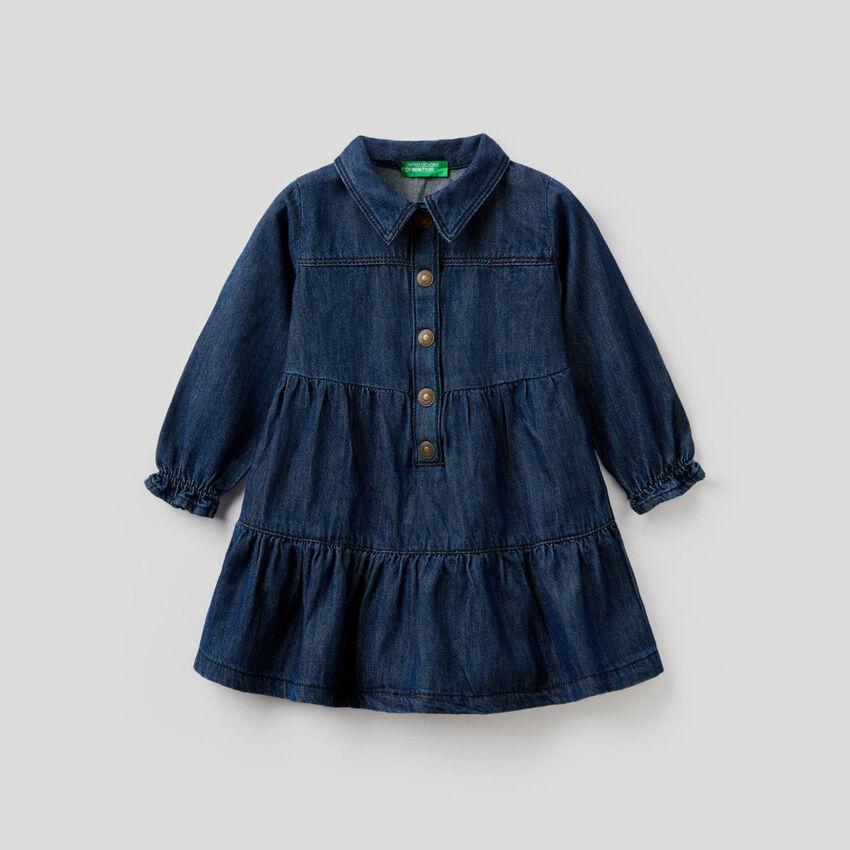 Jean dress with flounces