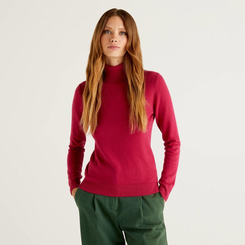 Cyclamen turtleneck sweater in pure virgin wool