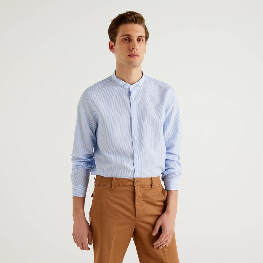 Striped shirt with Mandarin collar