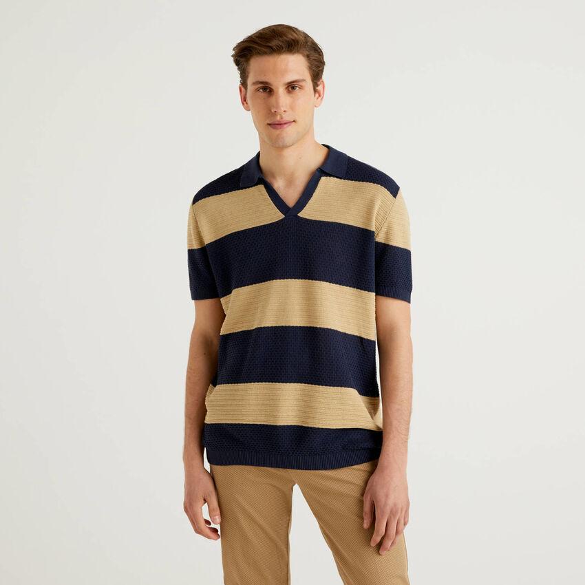 Striped knit polo