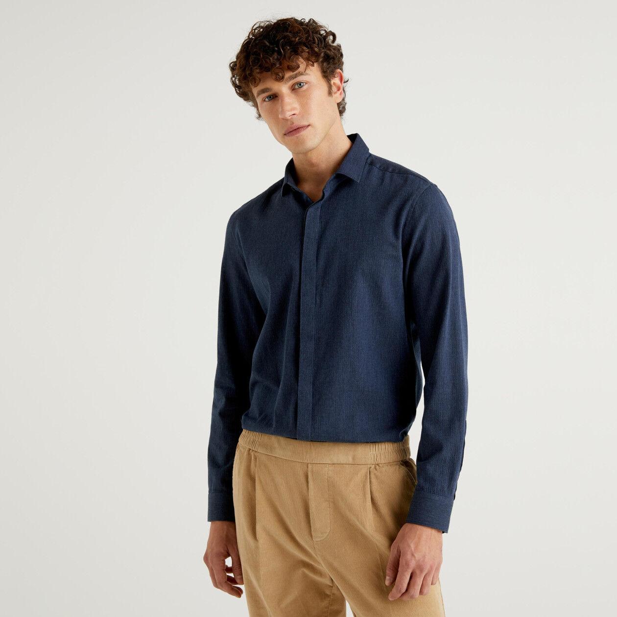 Slim fit flannel shirt