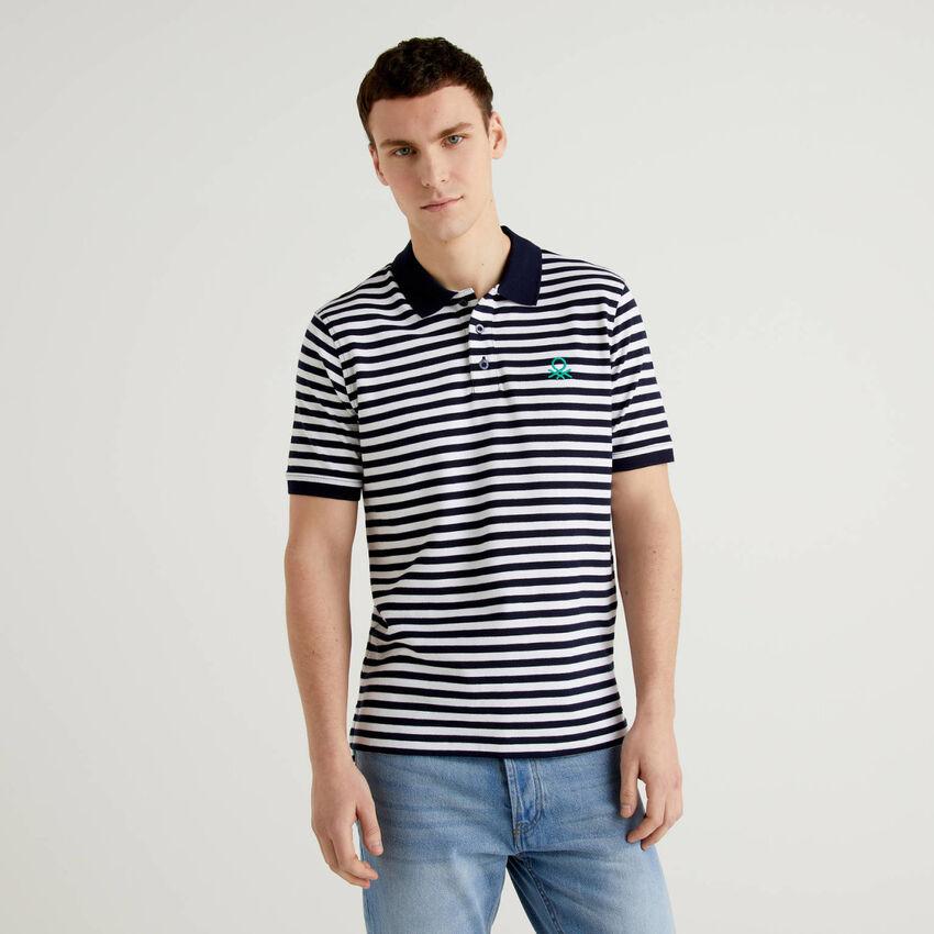 Striped polo in stretch cotton