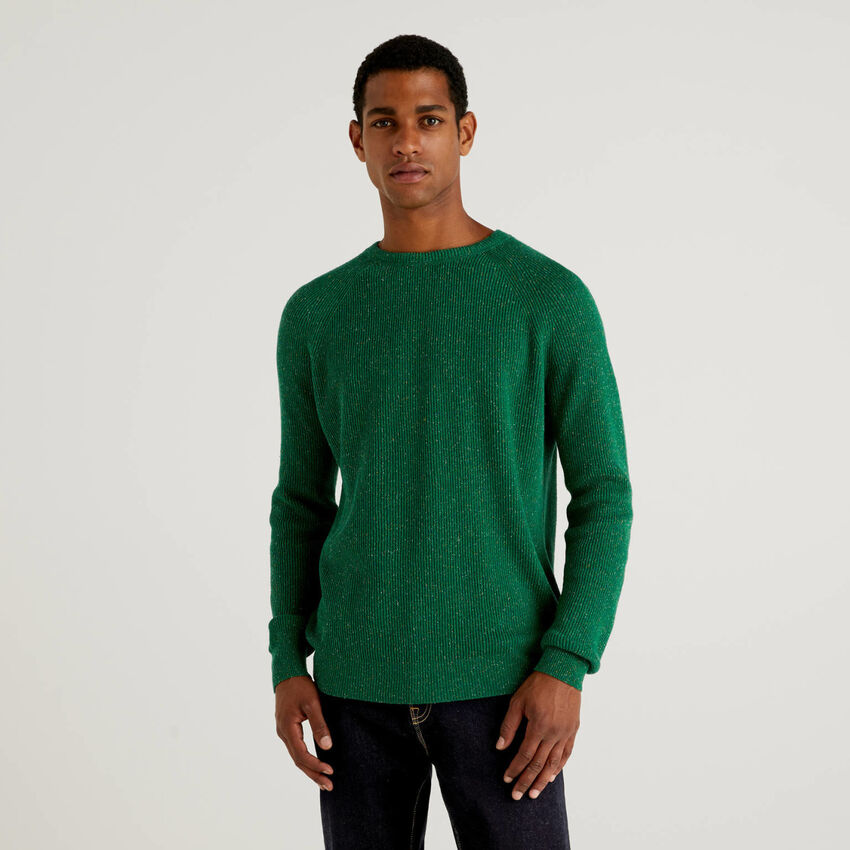 Ribbed wool and silk blend sweater