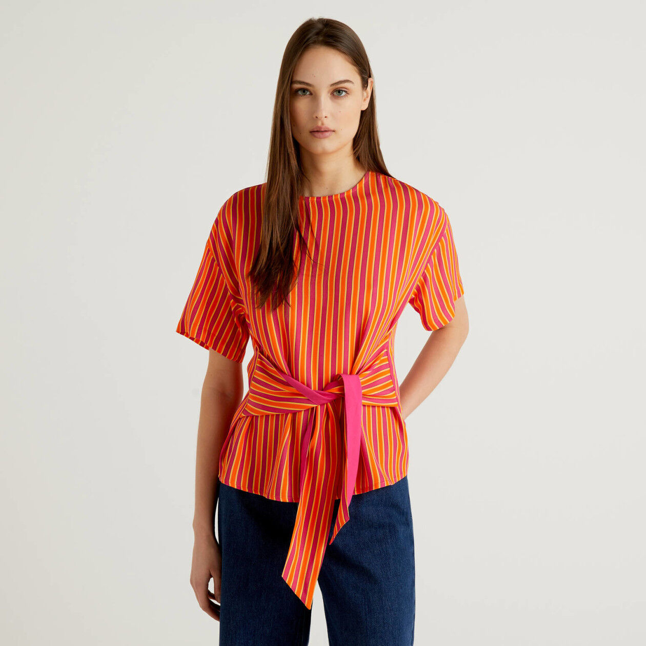 Striped blouse with bow