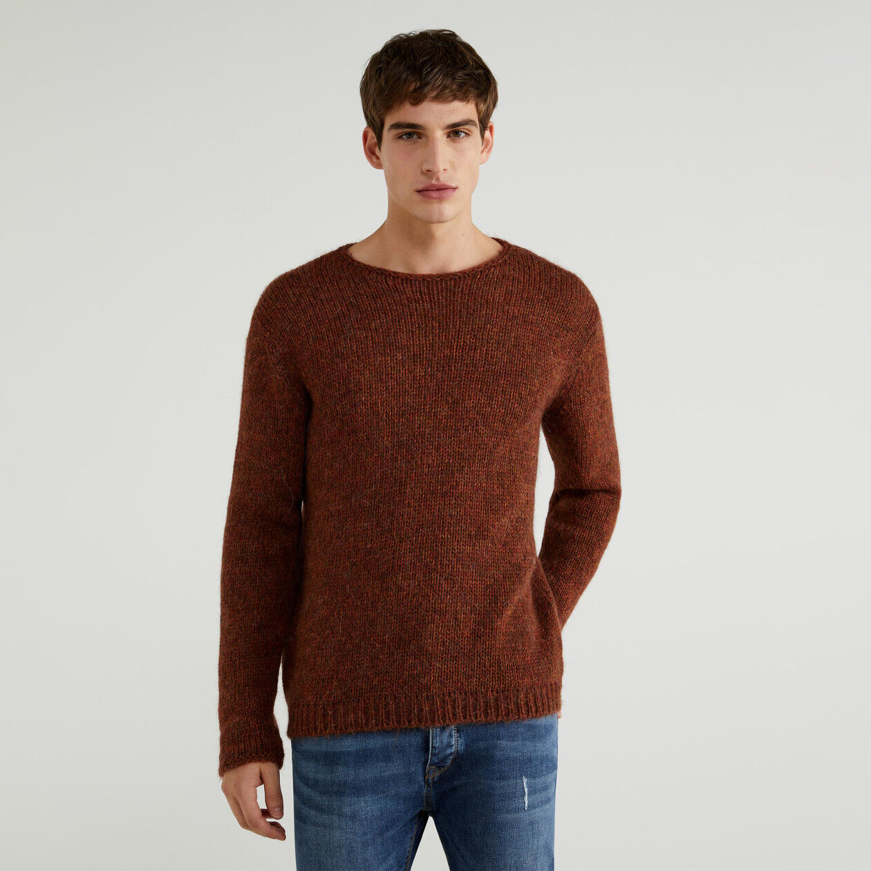 Crew neck alpaca blend sweater