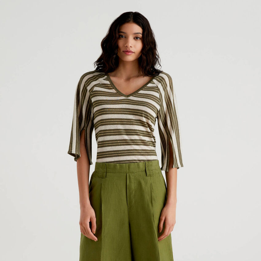 Striped t-shirt with 3/4 sleeves