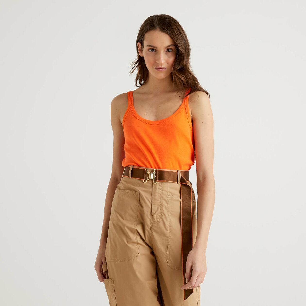 Orange tank top in pure cotton