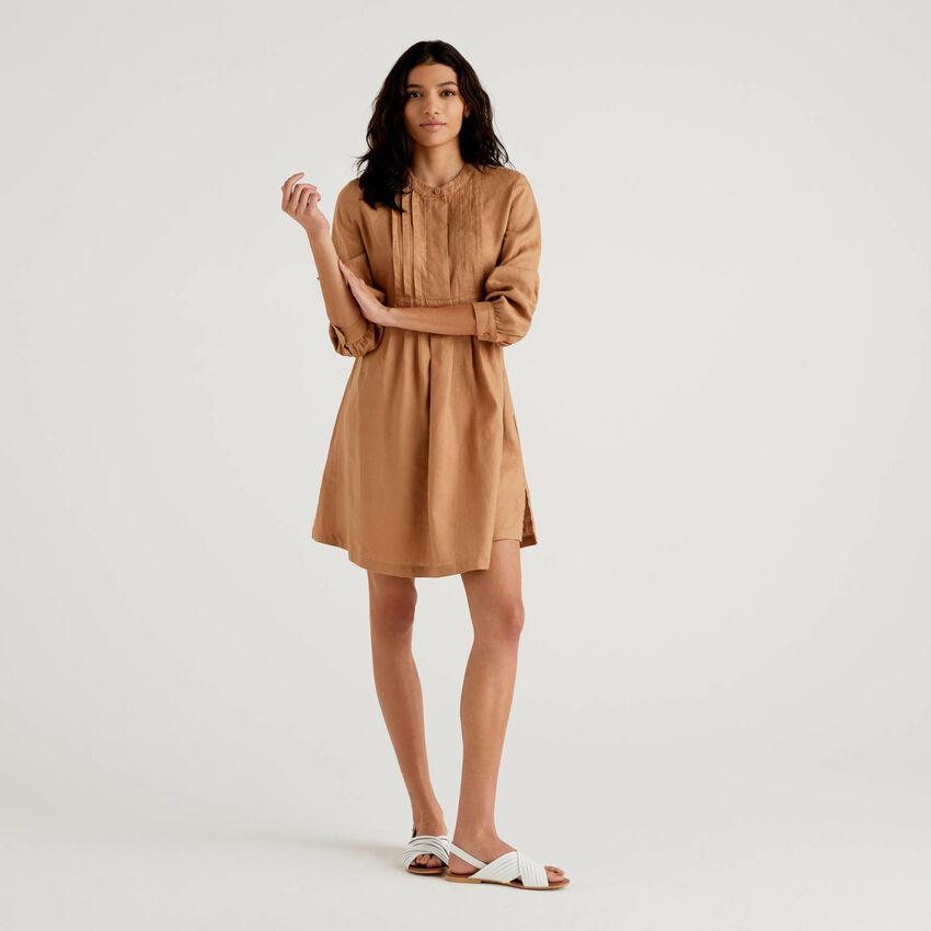 Short dress in 100% linen
