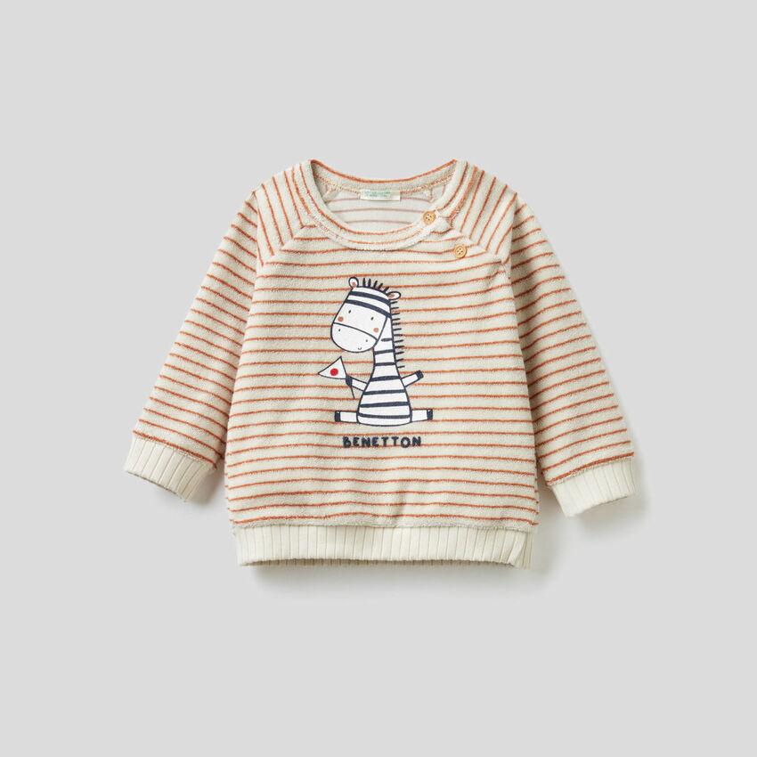 Terry-cloth look striped sweatshirt