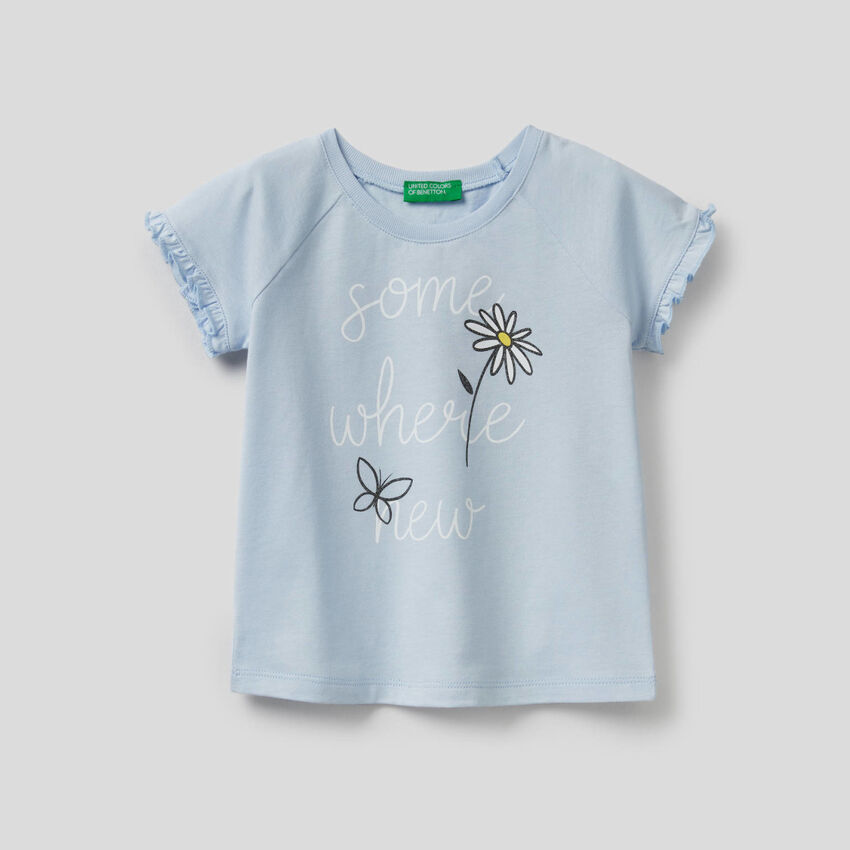 T-shirt with ruffles and glitter