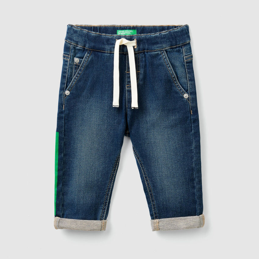 Stretch jeans with drawstring