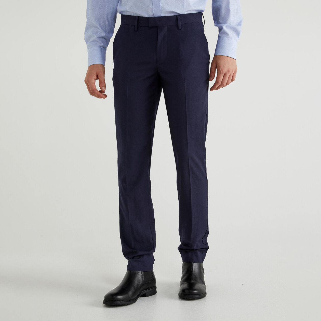 Pants with ironed crease