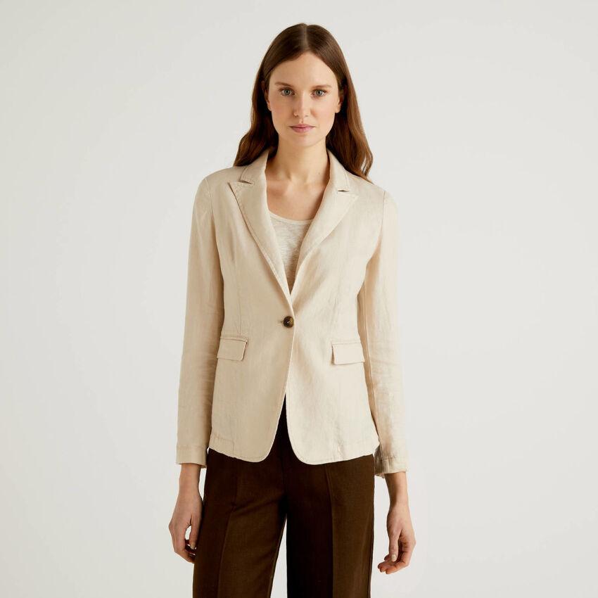 Waisted blazer in 100% linen
