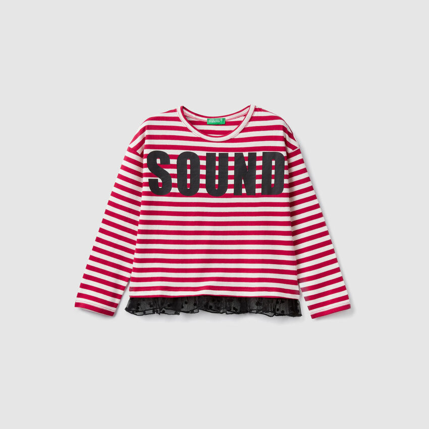 Striped t-shirt with tulle frill