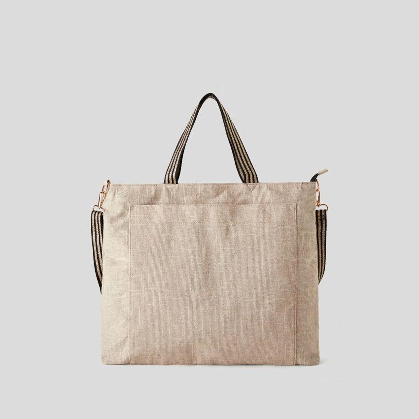 Beach bag in lurex look linen blend