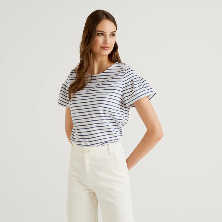 Striped t-shirt with gathered sleeves
