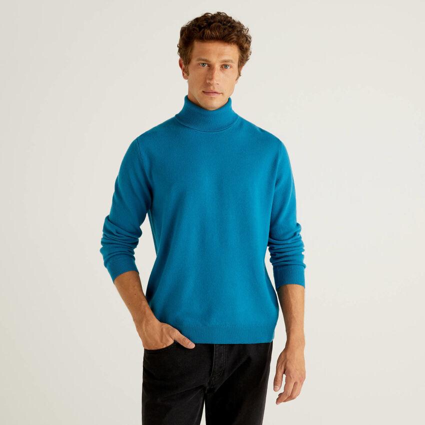 Teal turtleneck sweater in pure virgin wool