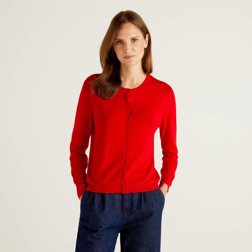 Cotton blend crew neck cardigan