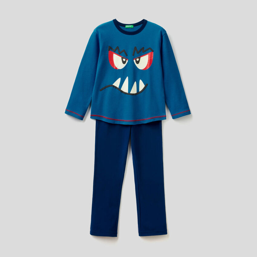 Pyjamas in pure cotton with print