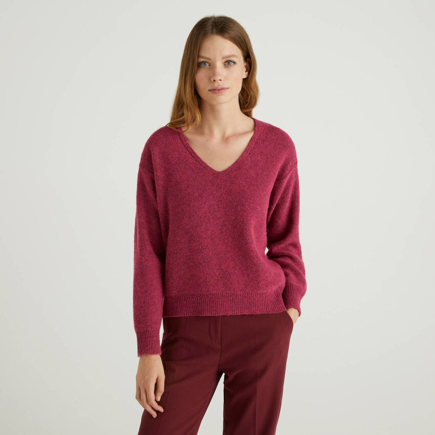 V-neck sweater in wool blend
