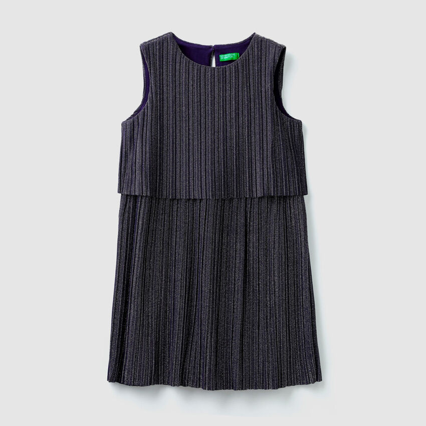 Pleated dress with lurex