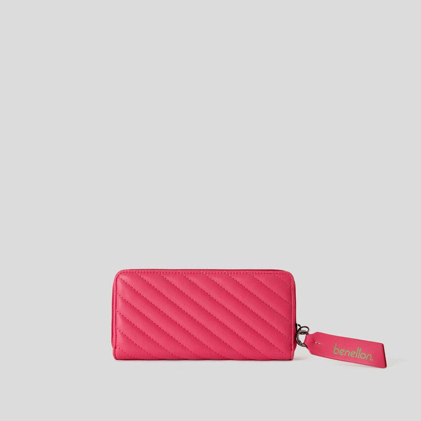 Striped matelassé wallet