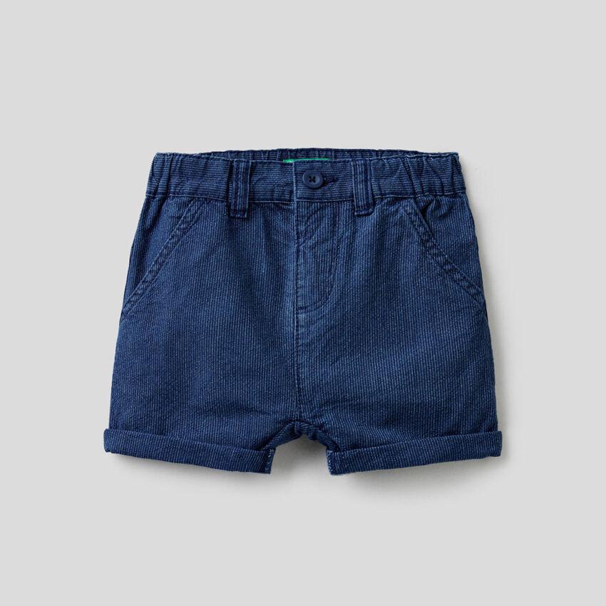 Ribbed denim shorts