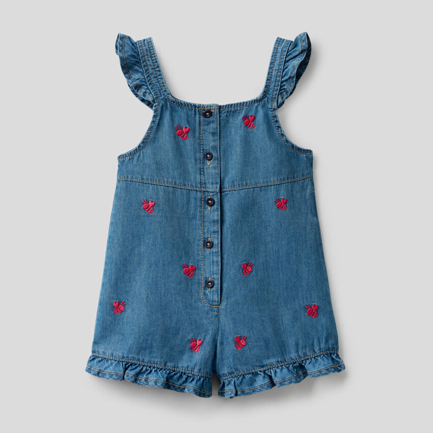 Overalls in chambray fabric