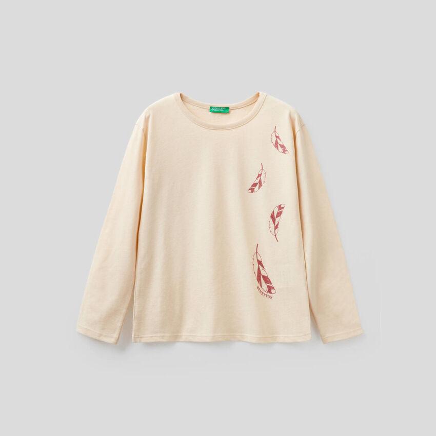 Long sleeve t-shirt with glitter print