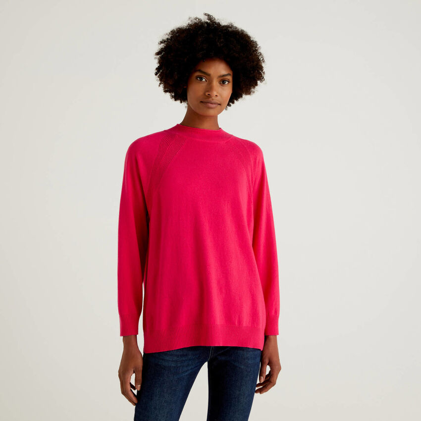 Fuchsia sweater in wool and cashmere blend