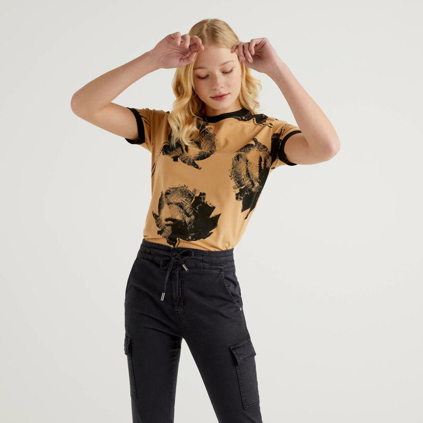 Printed t-shirt in stretch cotton