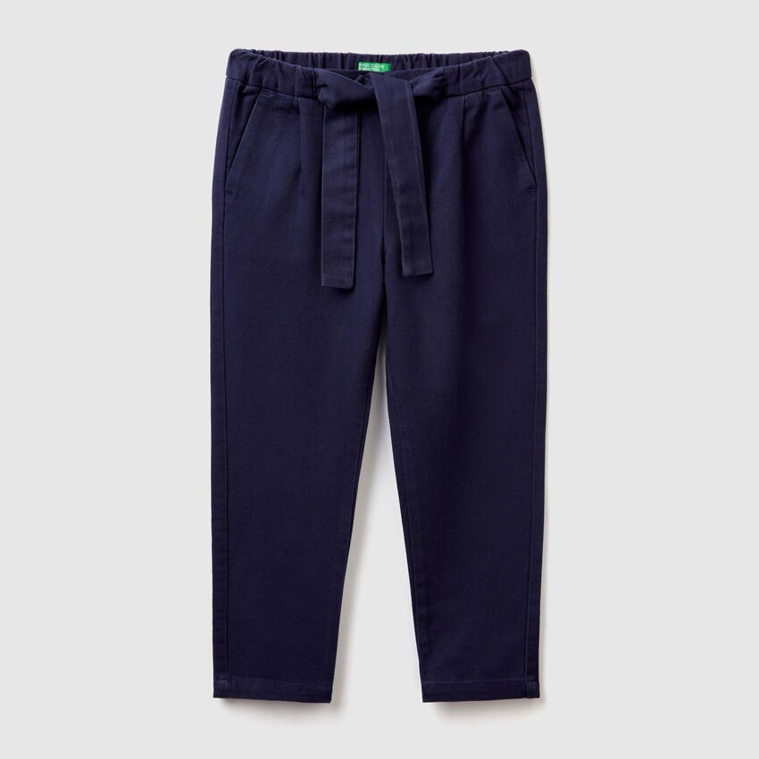 Soft trousers with belt