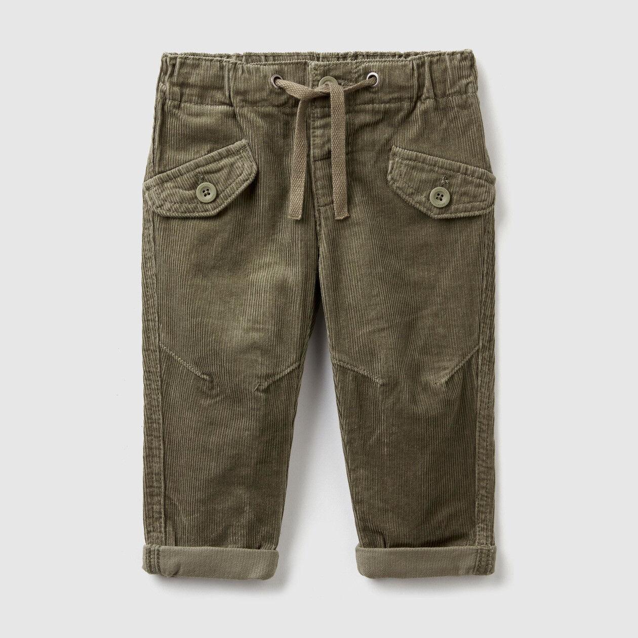 Velvet trousers with drawstring