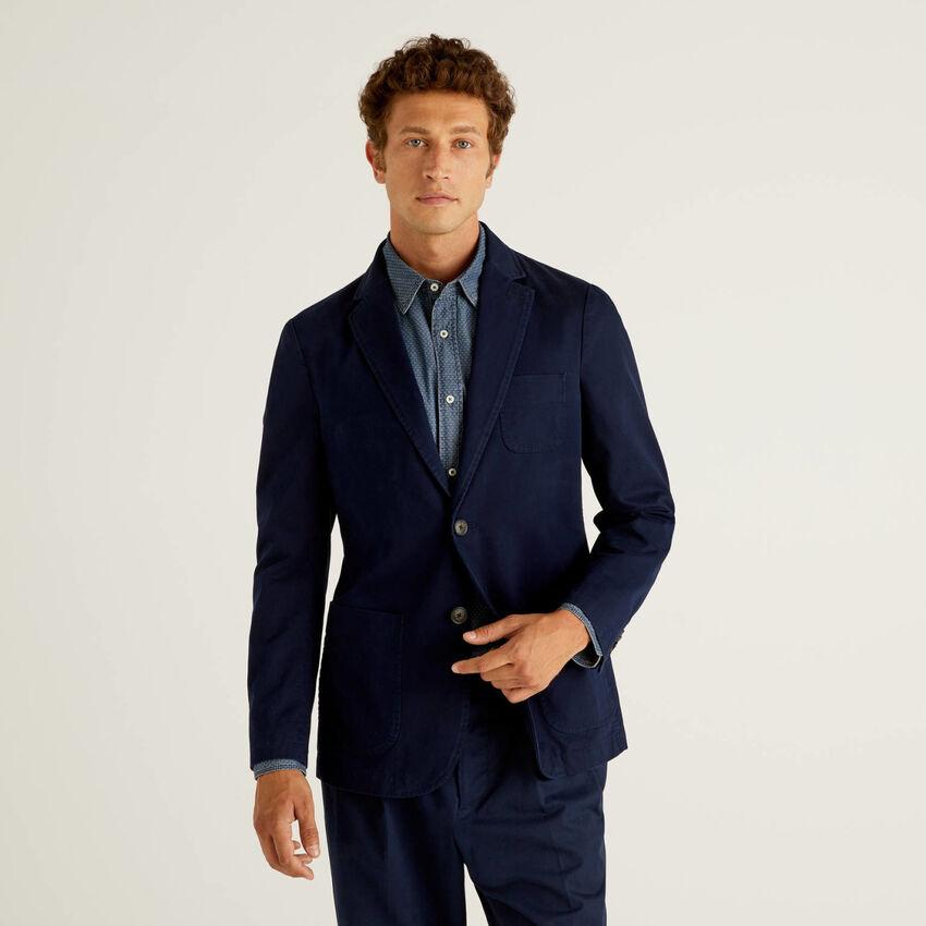 Slim fit blazer in pure cotton