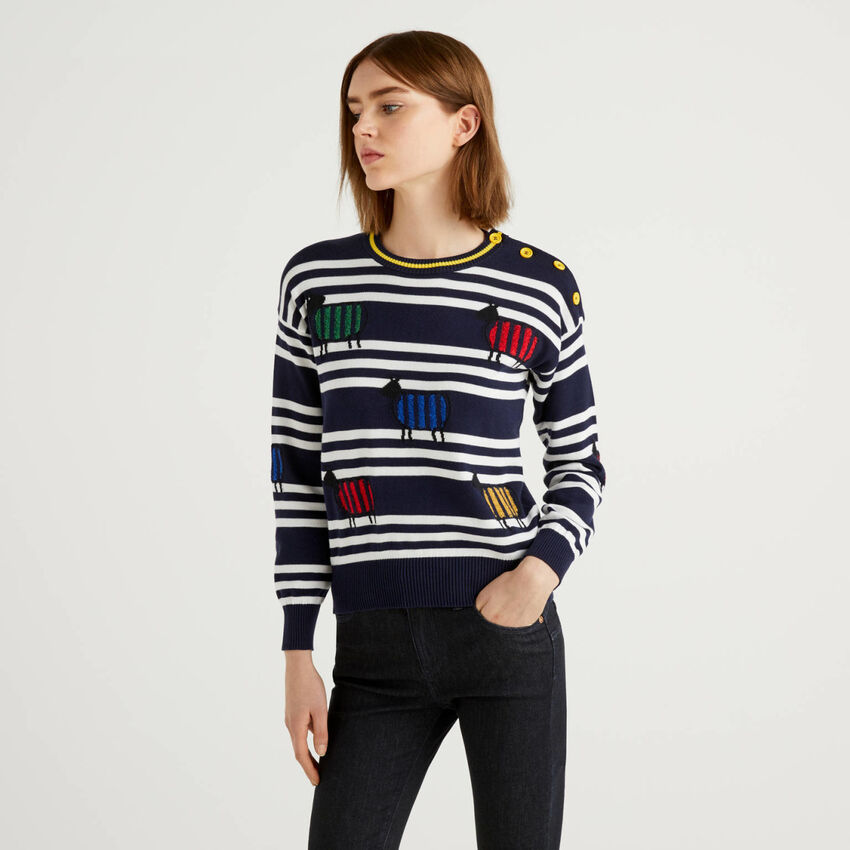 100% cotton sweater with stripes and inlay
