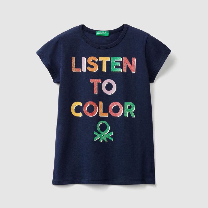 T-shirt with glitter print logo