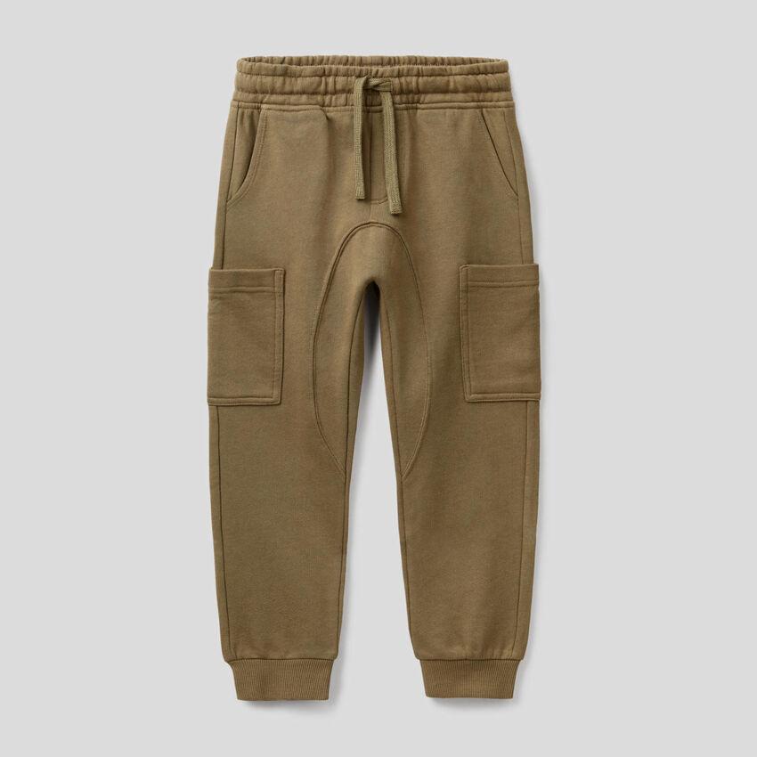 Cargo sweatpants in pure cotton