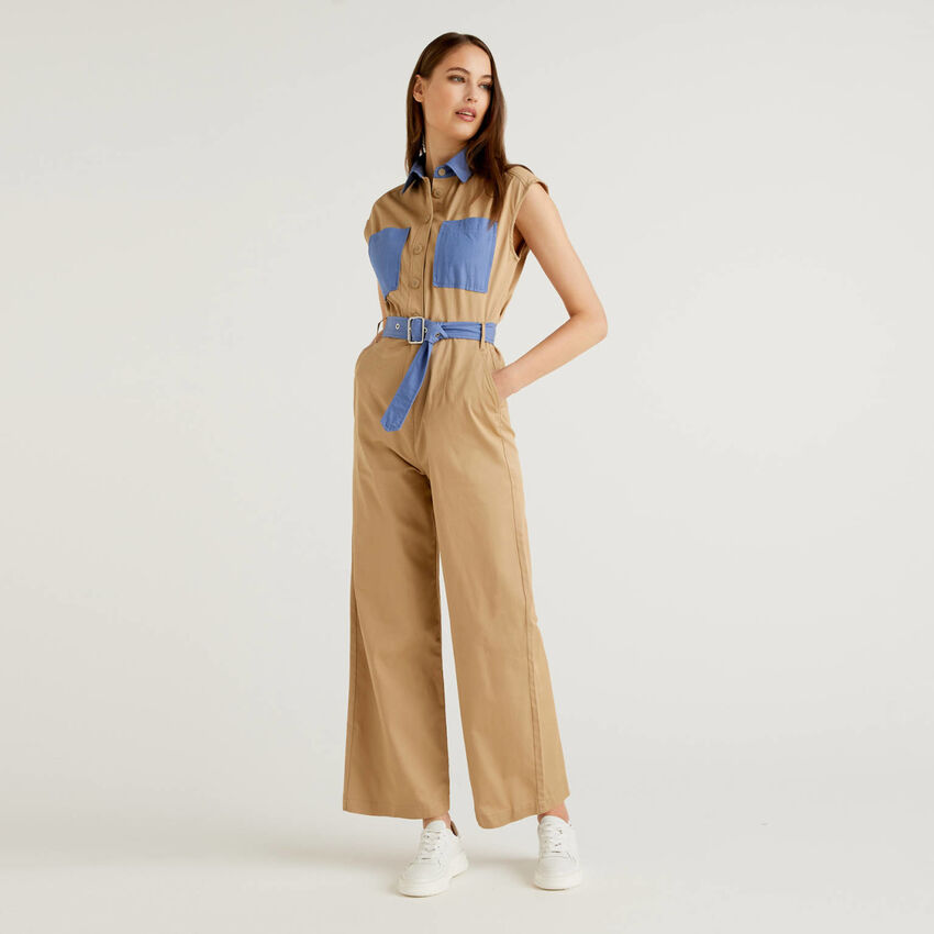 Jumpsuit in cotton with clashing details
