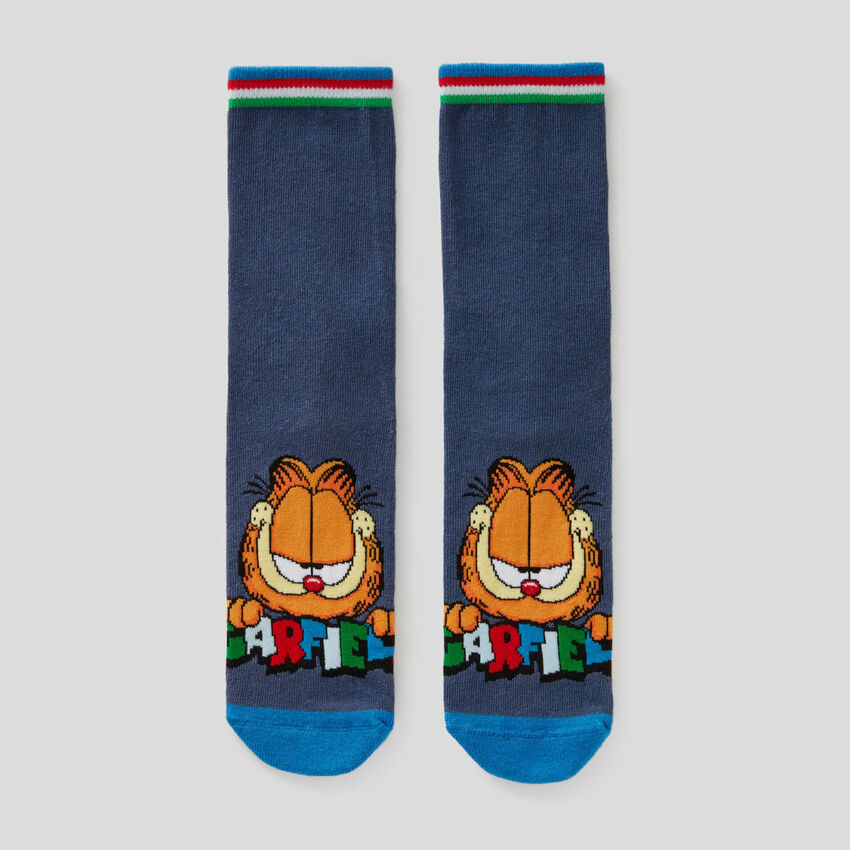 Blue socks with Garfield graphic