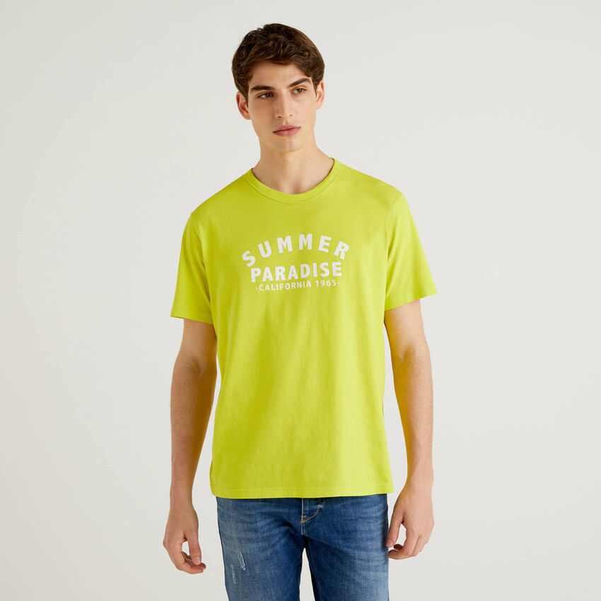 Lime yellow 100% cotton t-shirt with print