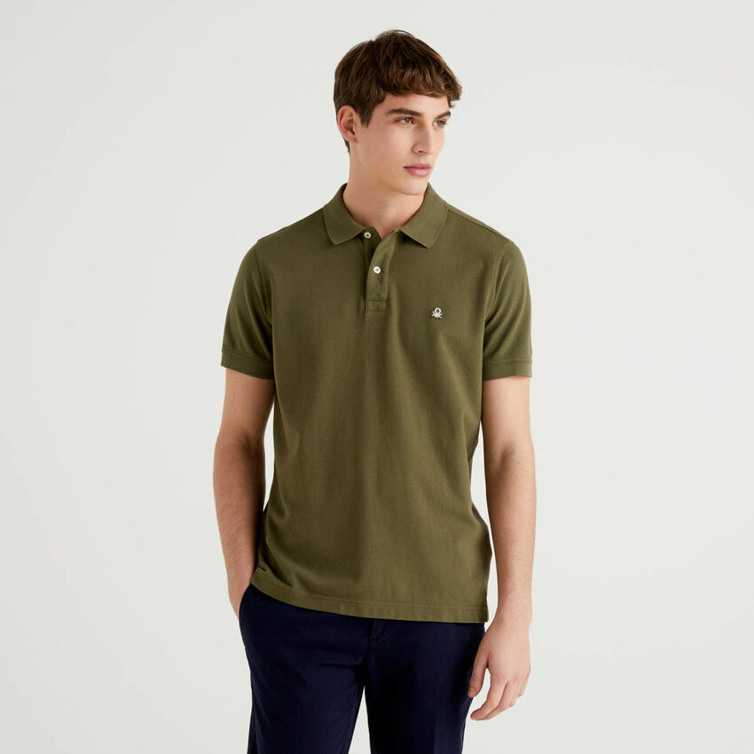 Regular fit customizable military green polo