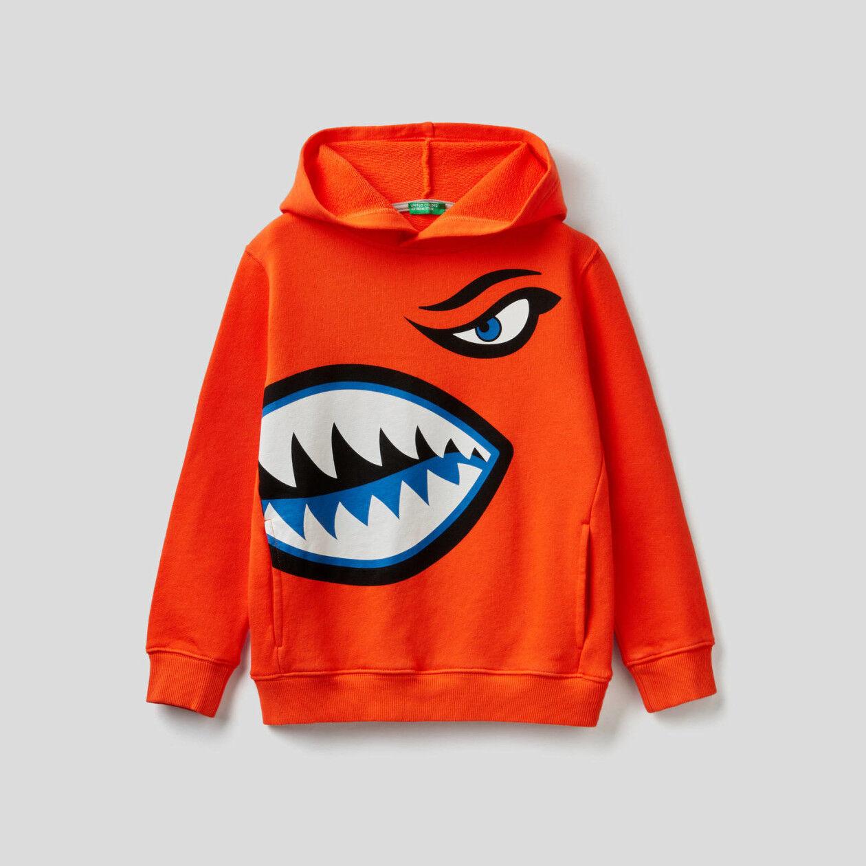 100% cotton sweatshirt with maxi print